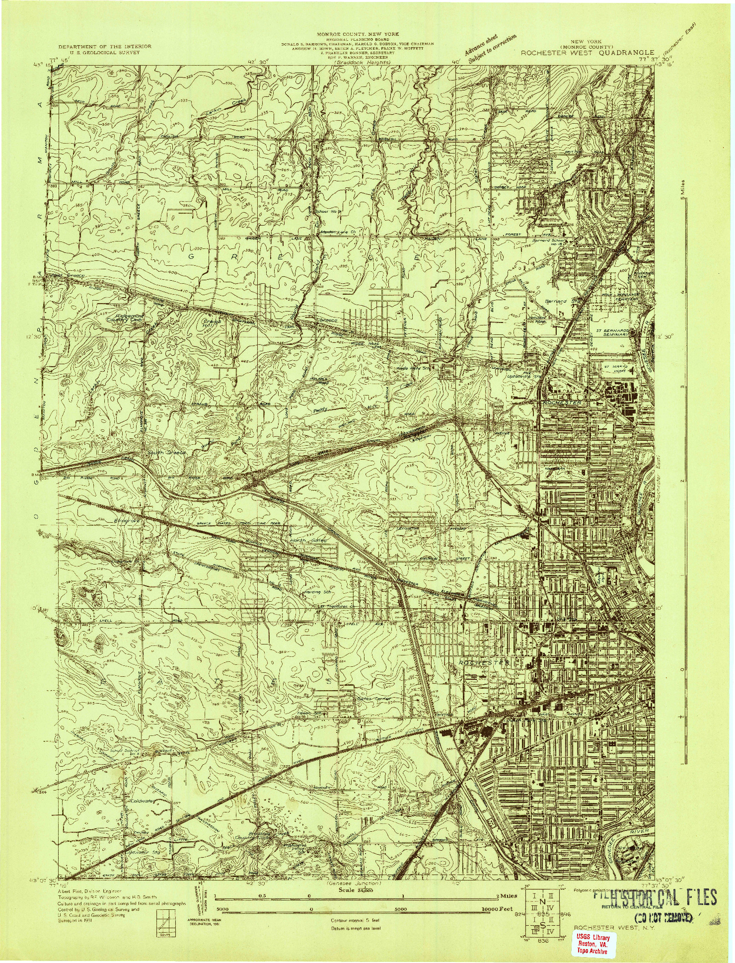USGS 1:24000-SCALE QUADRANGLE FOR ROCHESTER WEST, NY 1931