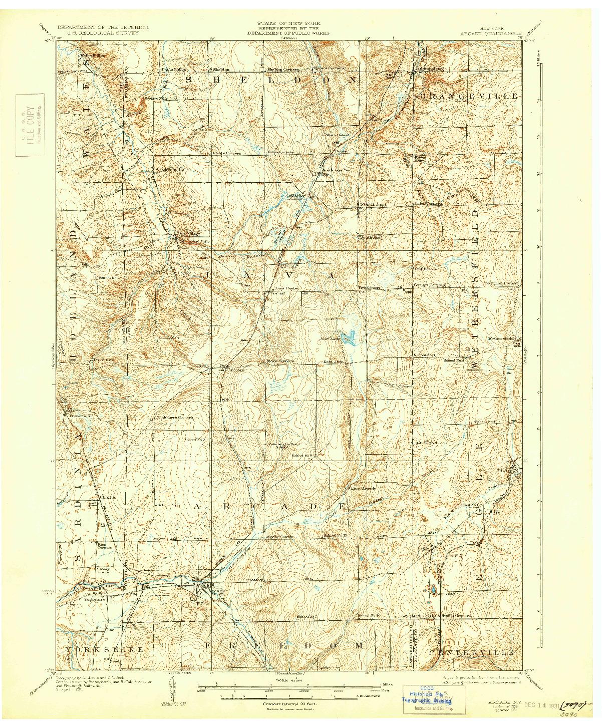 USGS 1:62500-SCALE QUADRANGLE FOR ARCADE, NY 1925