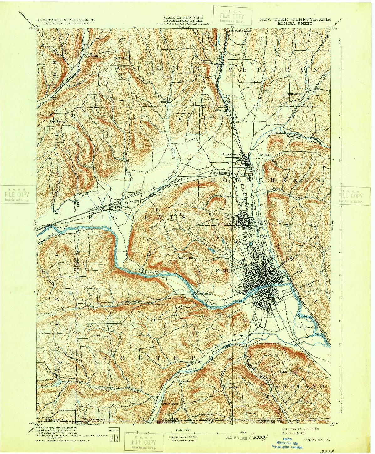 USGS 1:62500-SCALE QUADRANGLE FOR ELMIRA, NY 1895