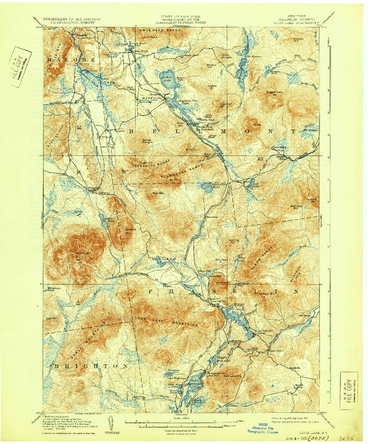 USGS 1:62500-SCALE QUADRANGLE FOR LOON LAKE, NY 1908