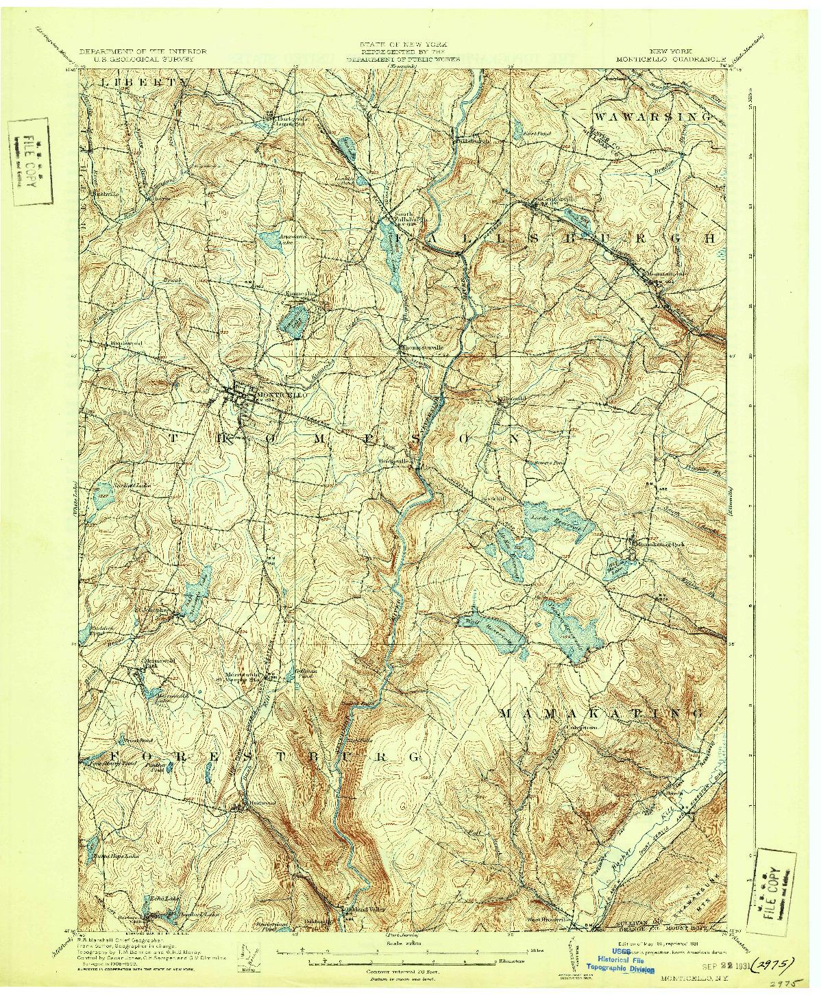 USGS 1:62500-SCALE QUADRANGLE FOR MONTICELLO, NY 1911