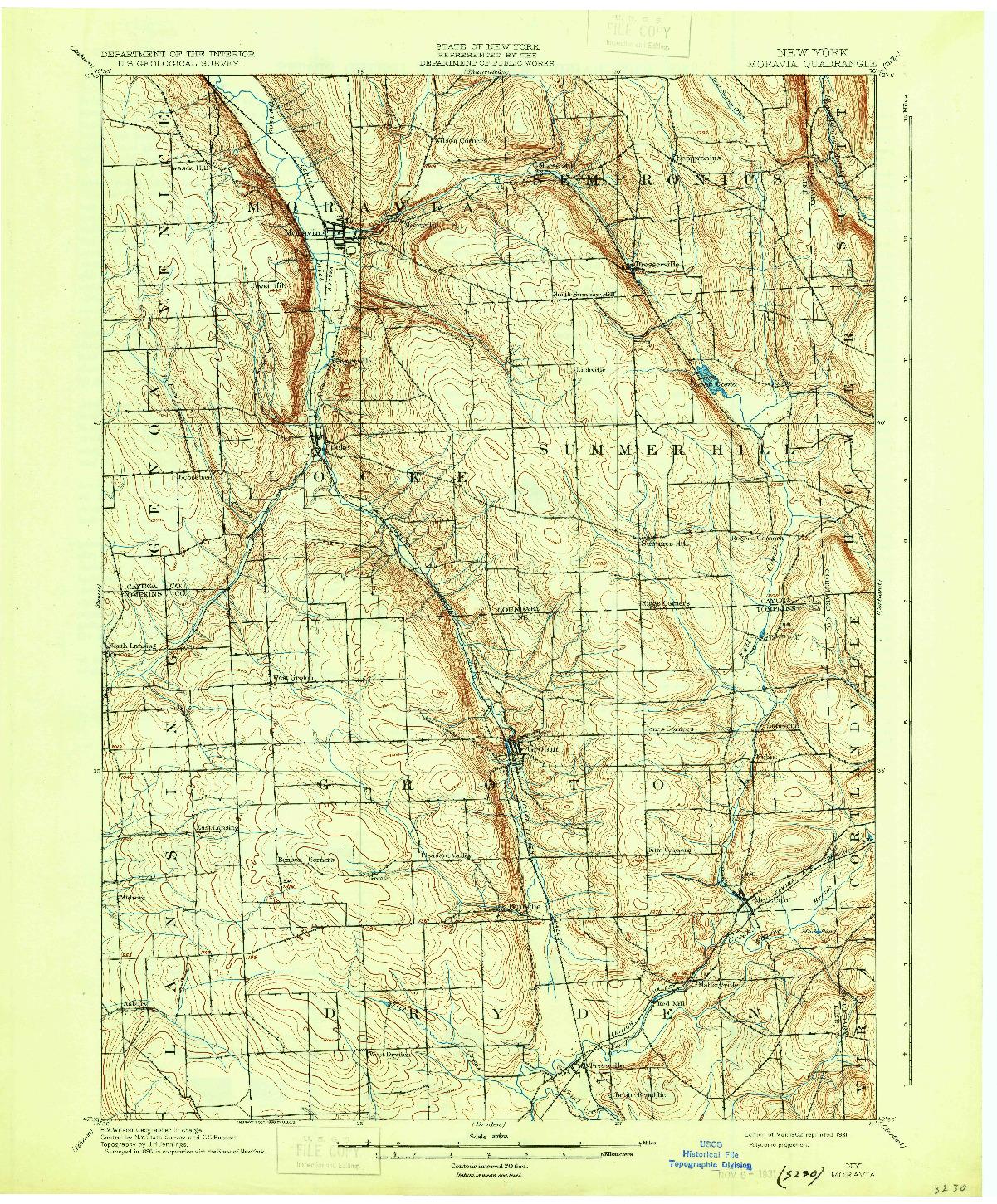 USGS 1:62500-SCALE QUADRANGLE FOR MORAVIA, NY 1902