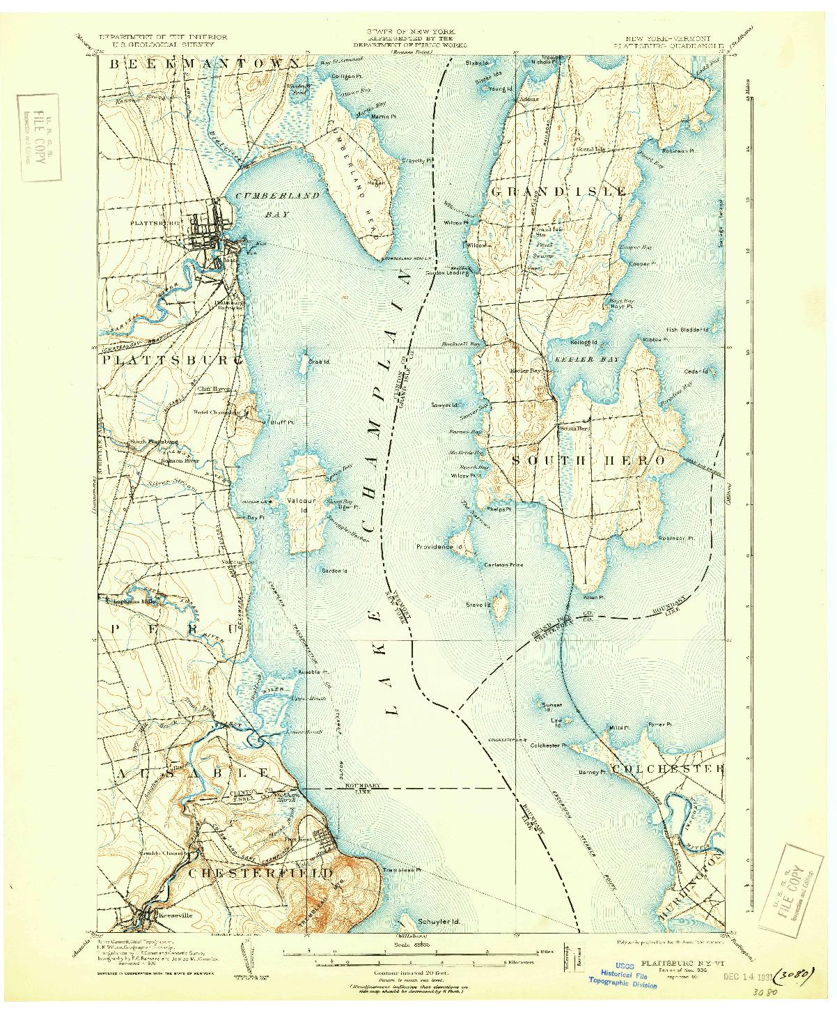 USGS 1:62500-SCALE QUADRANGLE FOR PLATTSBURG, NY 1906