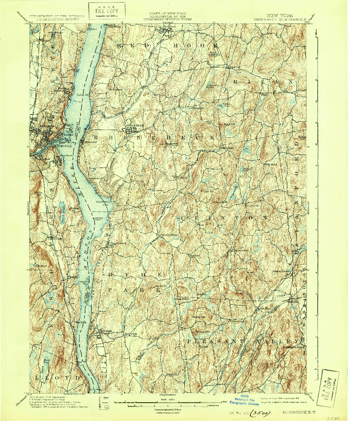 USGS 1:62500-SCALE QUADRANGLE FOR RHINEBECK, NY 1898