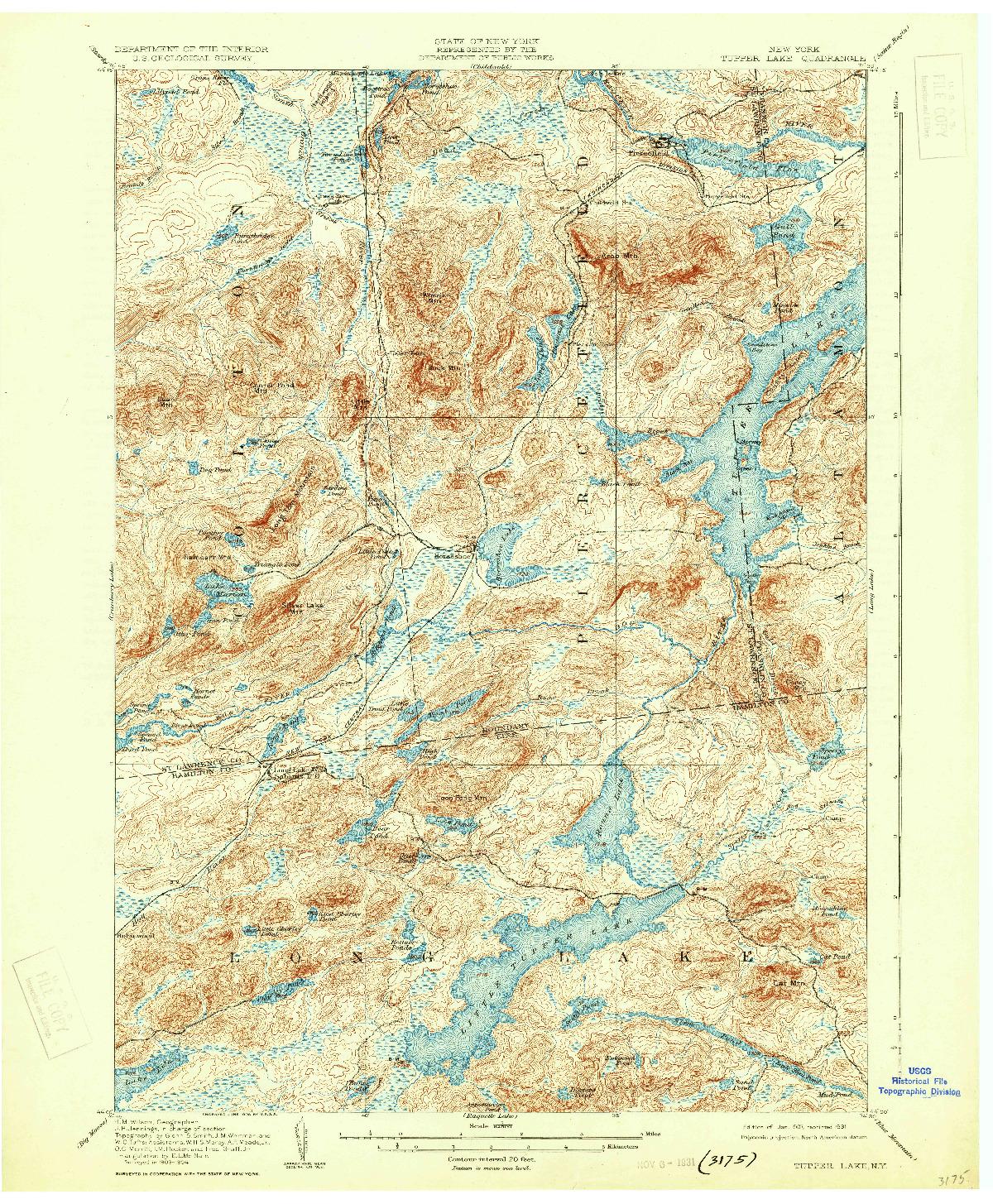 USGS 1:62500-SCALE QUADRANGLE FOR TUPPER LAKE, NY 1907