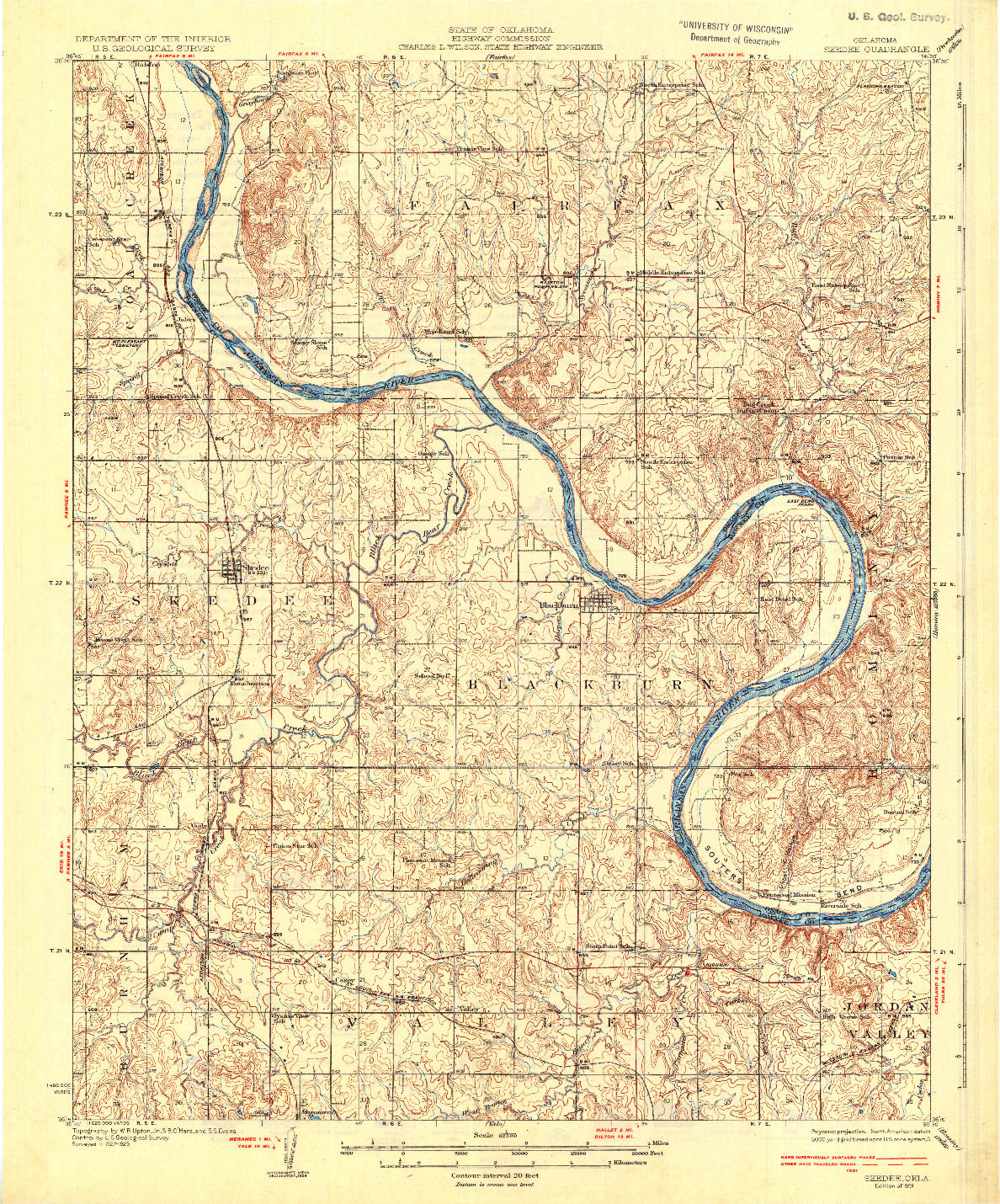 USGS 1:62500-SCALE QUADRANGLE FOR SKEDEE, OK 1931