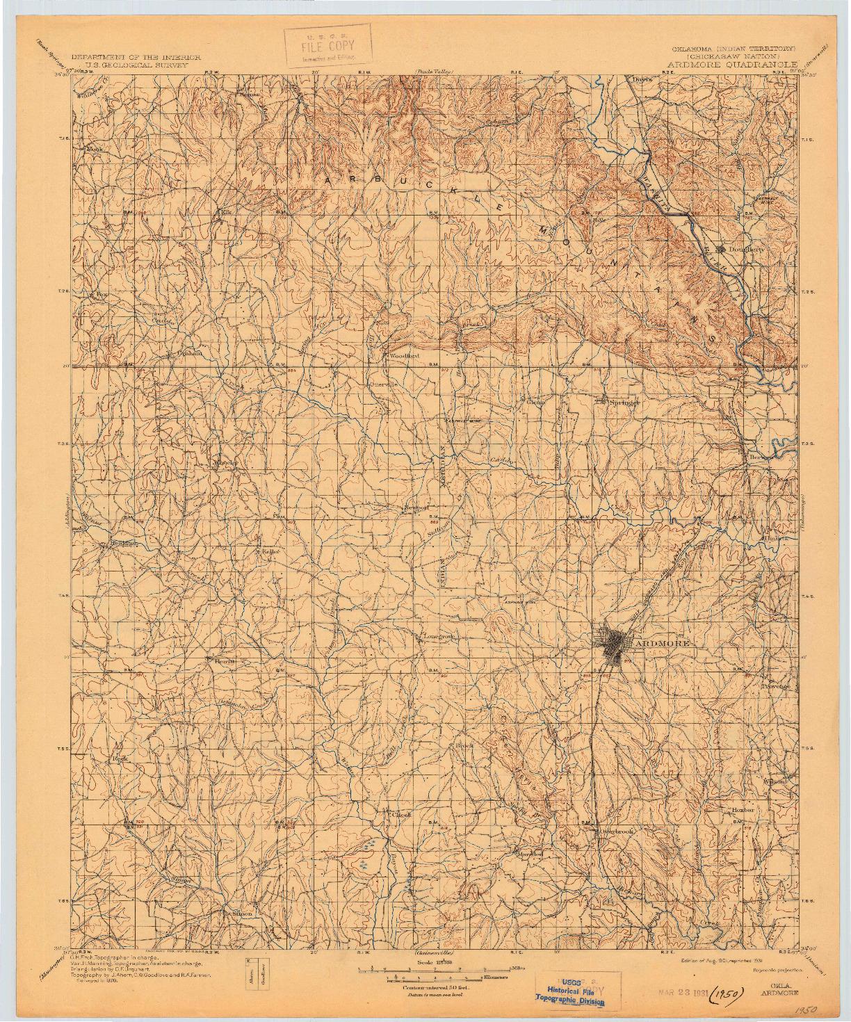 USGS 1:125000-SCALE QUADRANGLE FOR ARDMORE, OK 1901