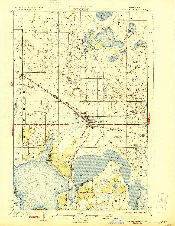 USGS 1:62500-SCALE QUADRANGLE FOR DEVILS LAKE, ND 1931