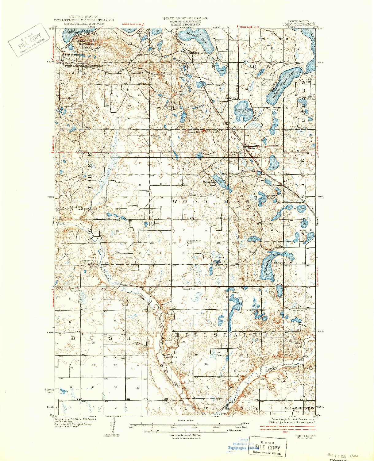 USGS 1:62500-SCALE QUADRANGLE FOR TOKIO, ND 1931