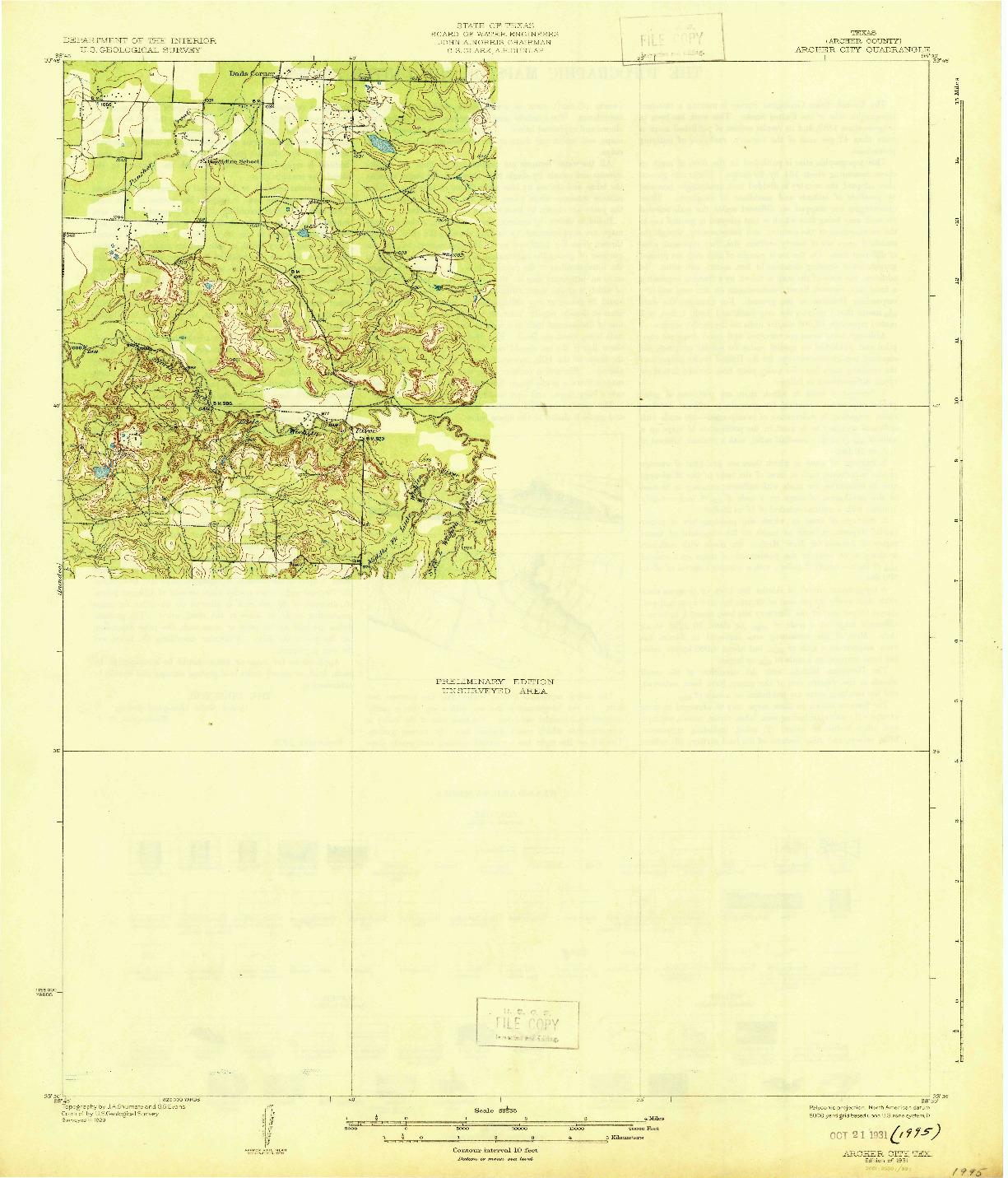 USGS 1:62500-SCALE QUADRANGLE FOR ARCHER CITY, TX 1931