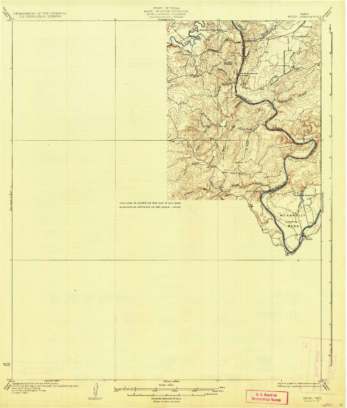 USGS 1:62500-SCALE QUADRANGLE FOR BEND, TX 1931