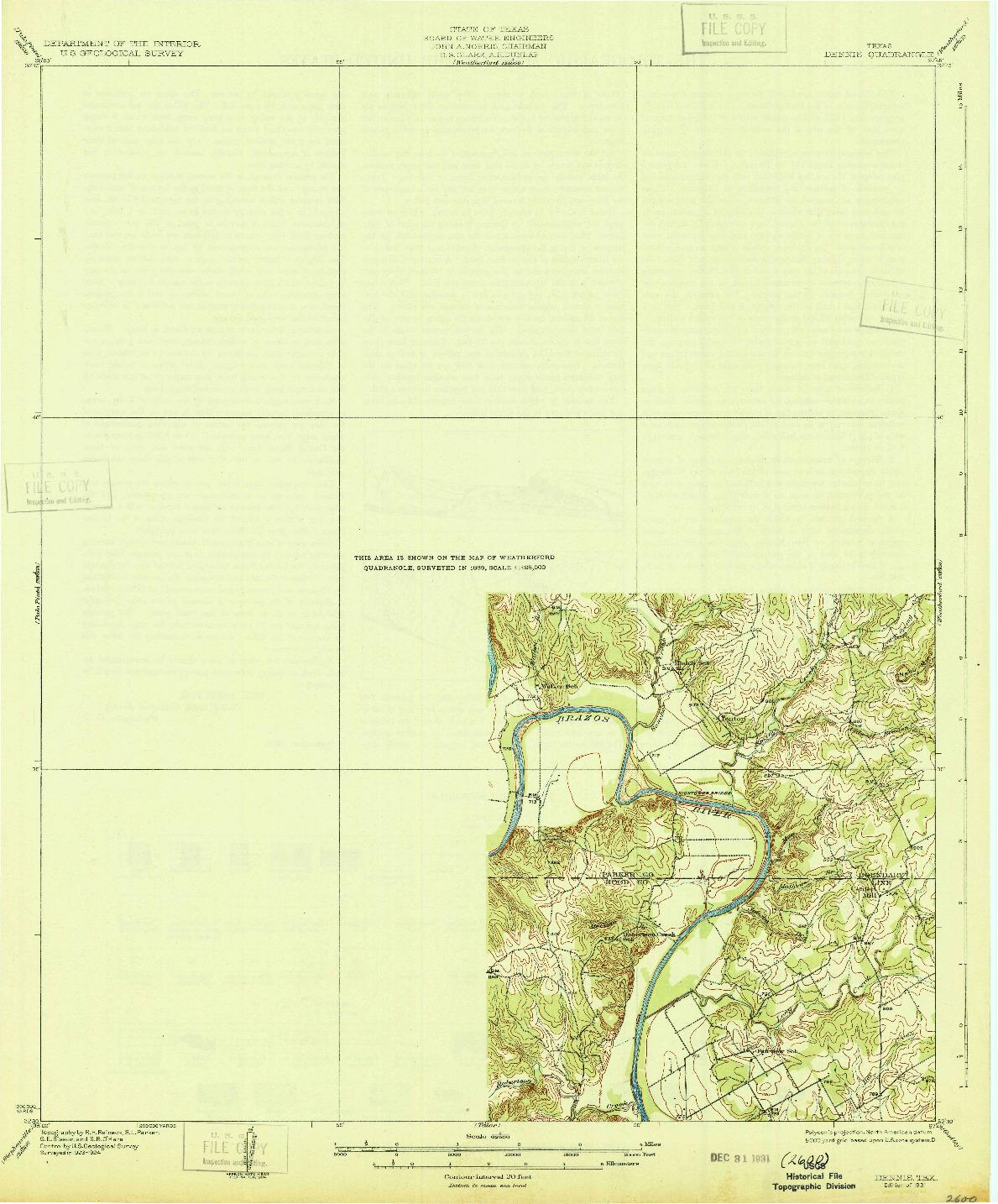 USGS 1:62500-SCALE QUADRANGLE FOR DENNIS, TX 1931
