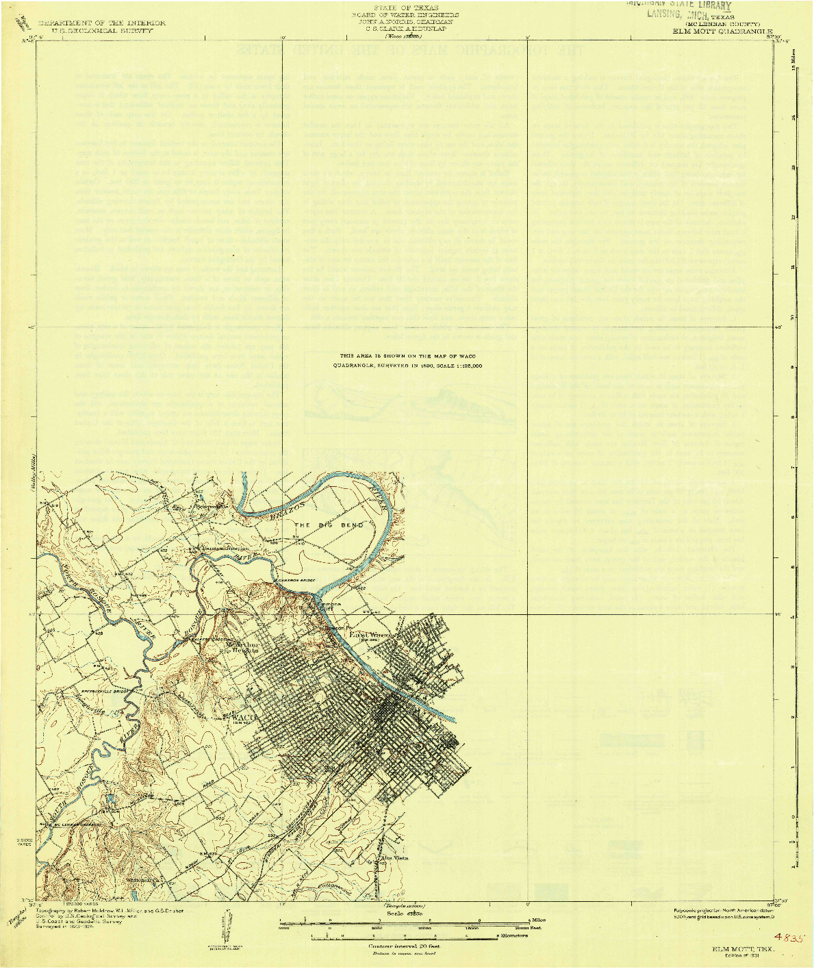 USGS 1:62500-SCALE QUADRANGLE FOR ELM MOTT, TX 1931
