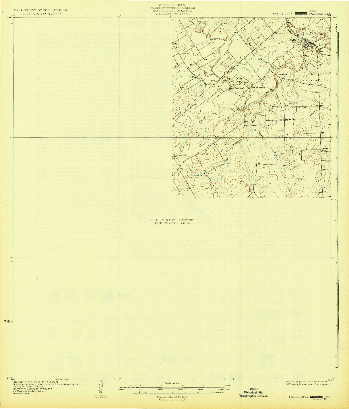USGS 1:62500-SCALE QUADRANGLE FOR FALLS CITY, TX 1931
