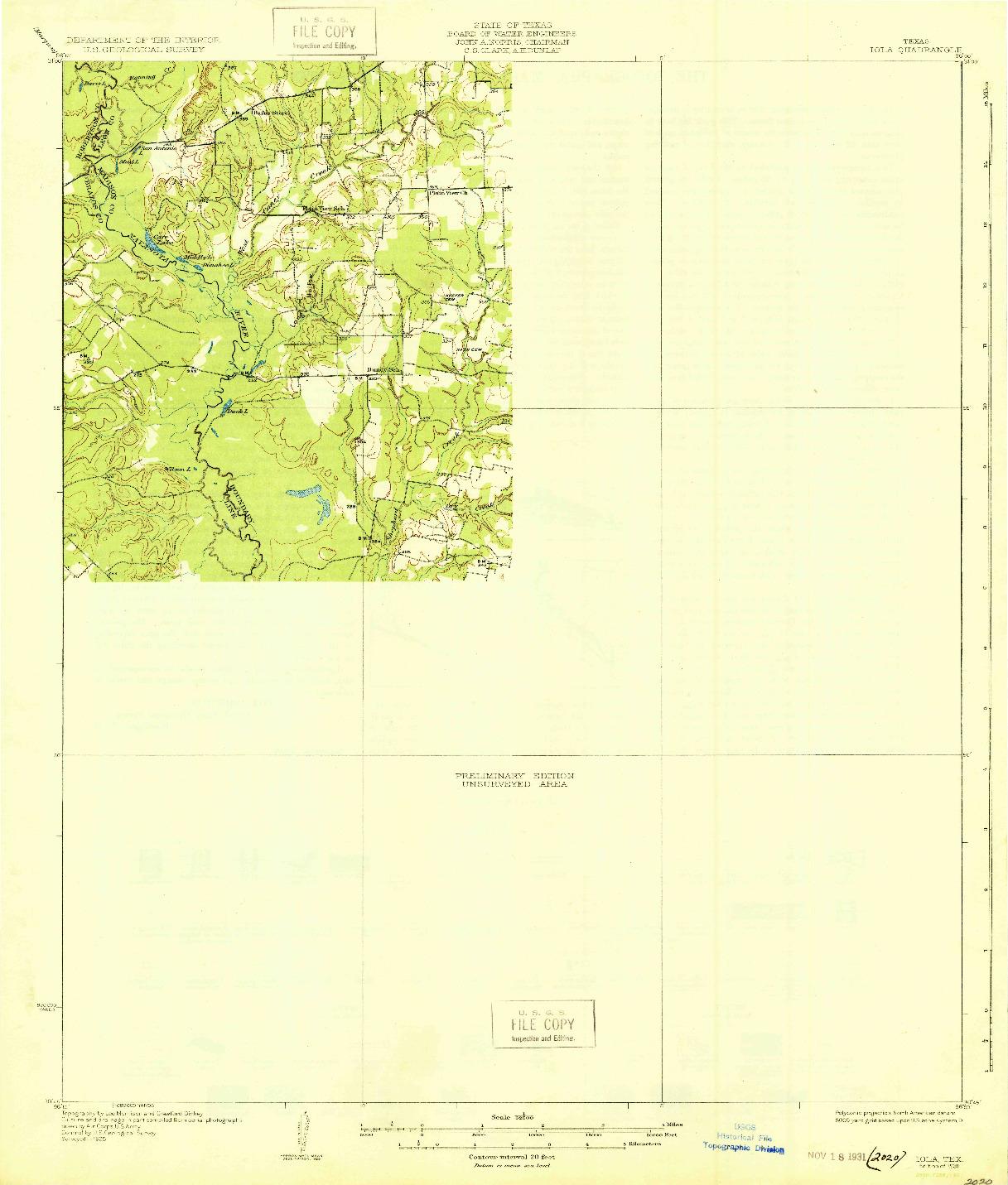USGS 1:62500-SCALE QUADRANGLE FOR IOLA, TX 1931