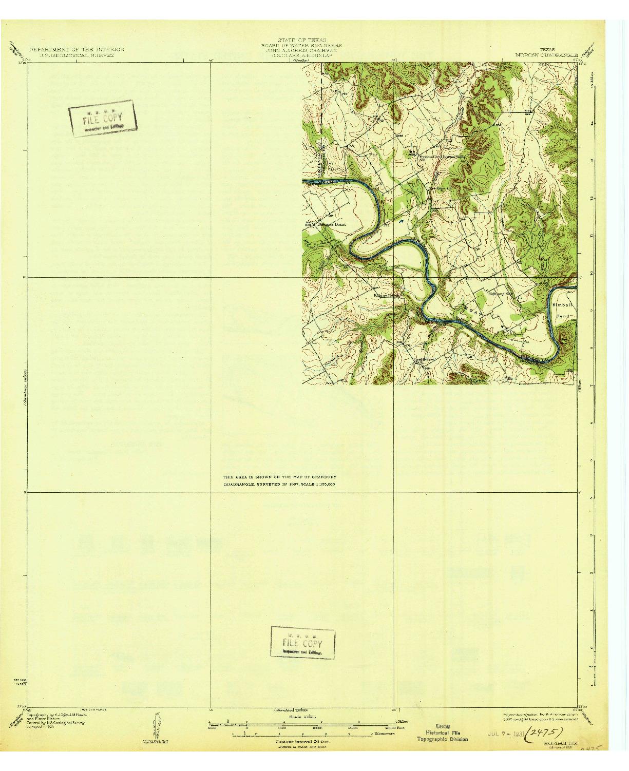 USGS 1:62500-SCALE QUADRANGLE FOR MORGAN, TX 1931