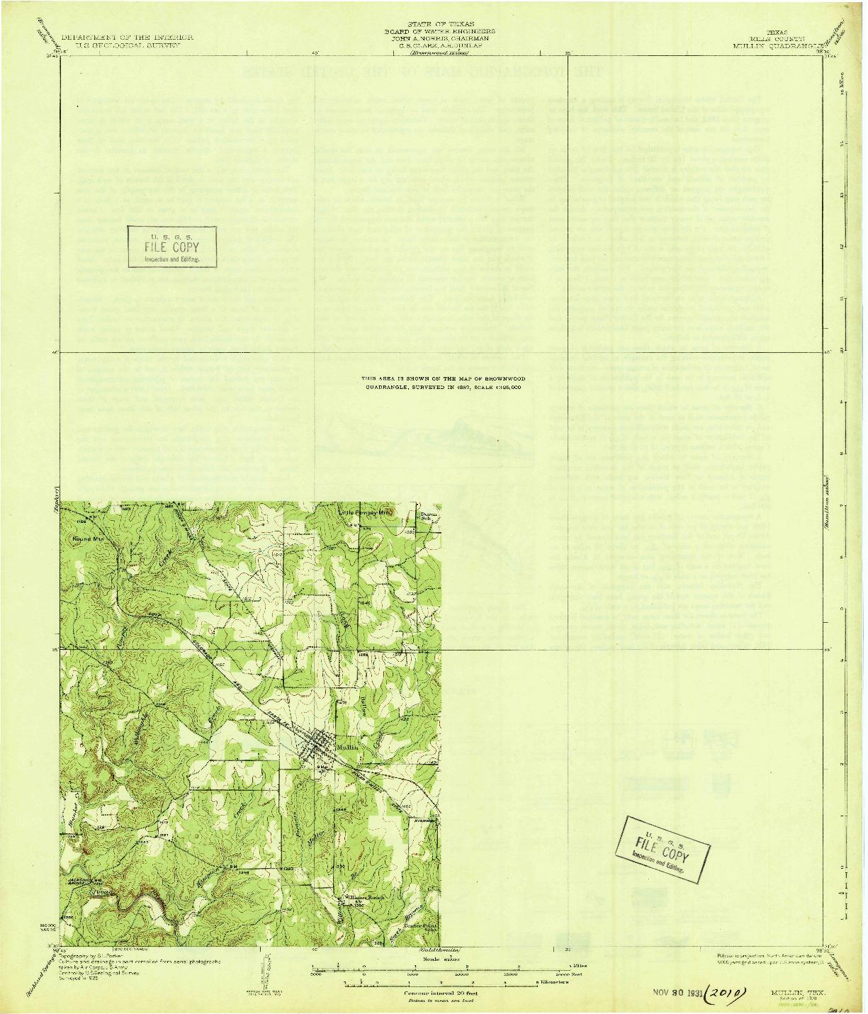 USGS 1:62500-SCALE QUADRANGLE FOR MULLIN, TX 1931
