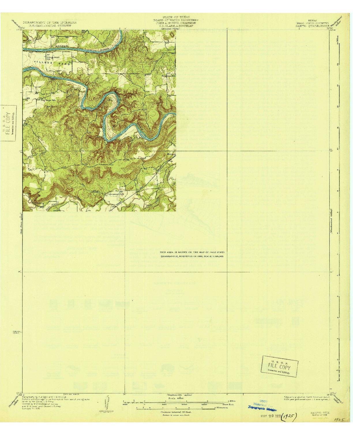 USGS 1:62500-SCALE QUADRANGLE FOR SANTO, TX 1931