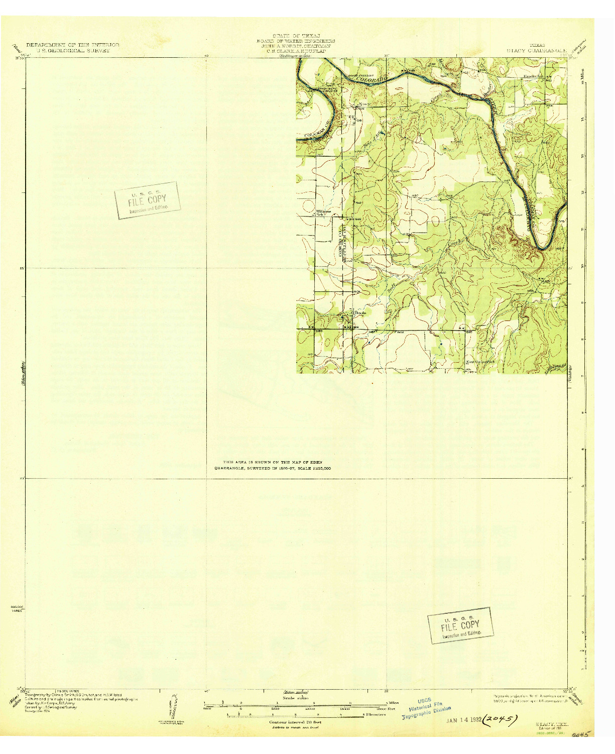 USGS 1:62500-SCALE QUADRANGLE FOR STACY, TX 1931