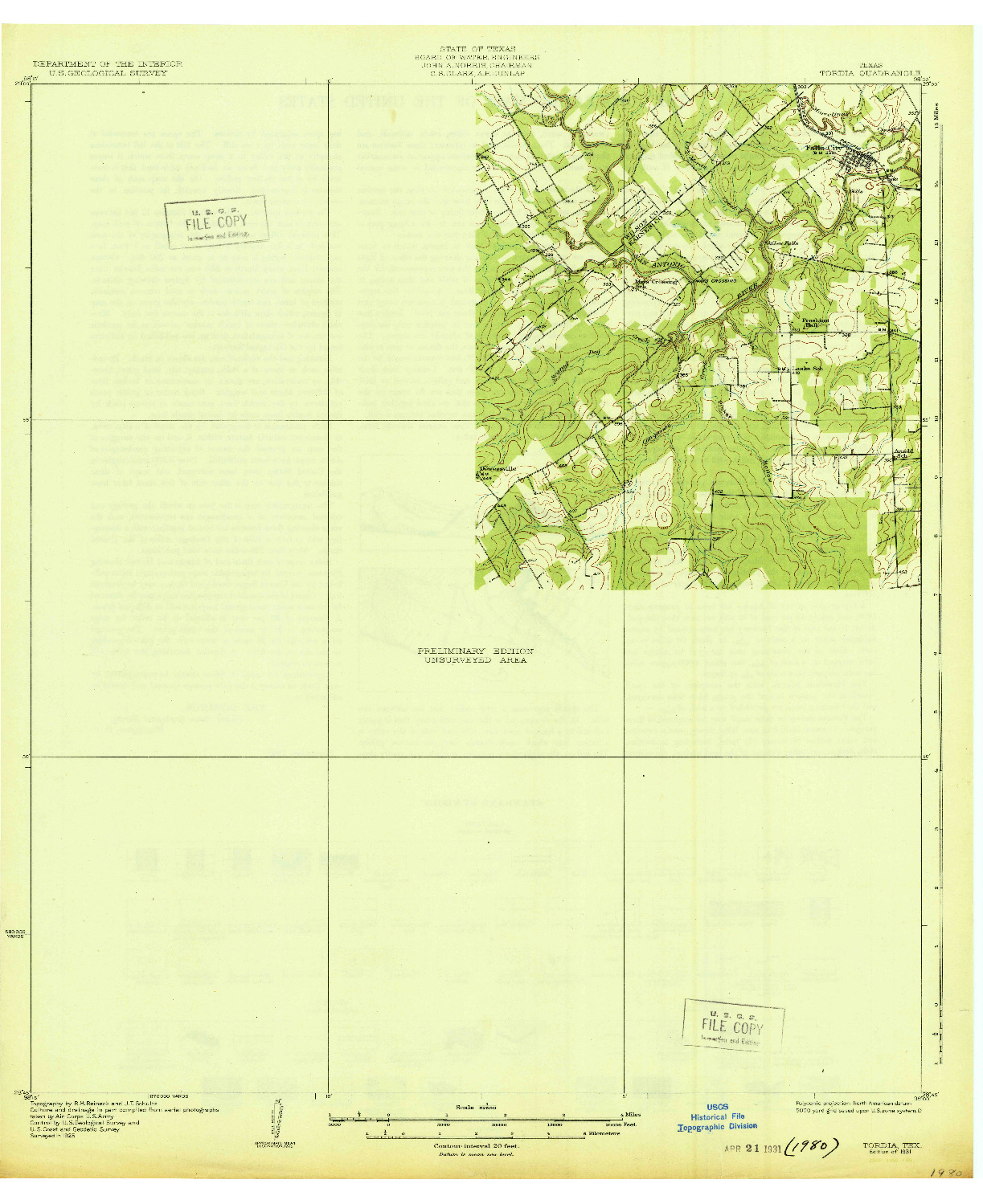 USGS 1:62500-SCALE QUADRANGLE FOR TORDIA, TX 1931