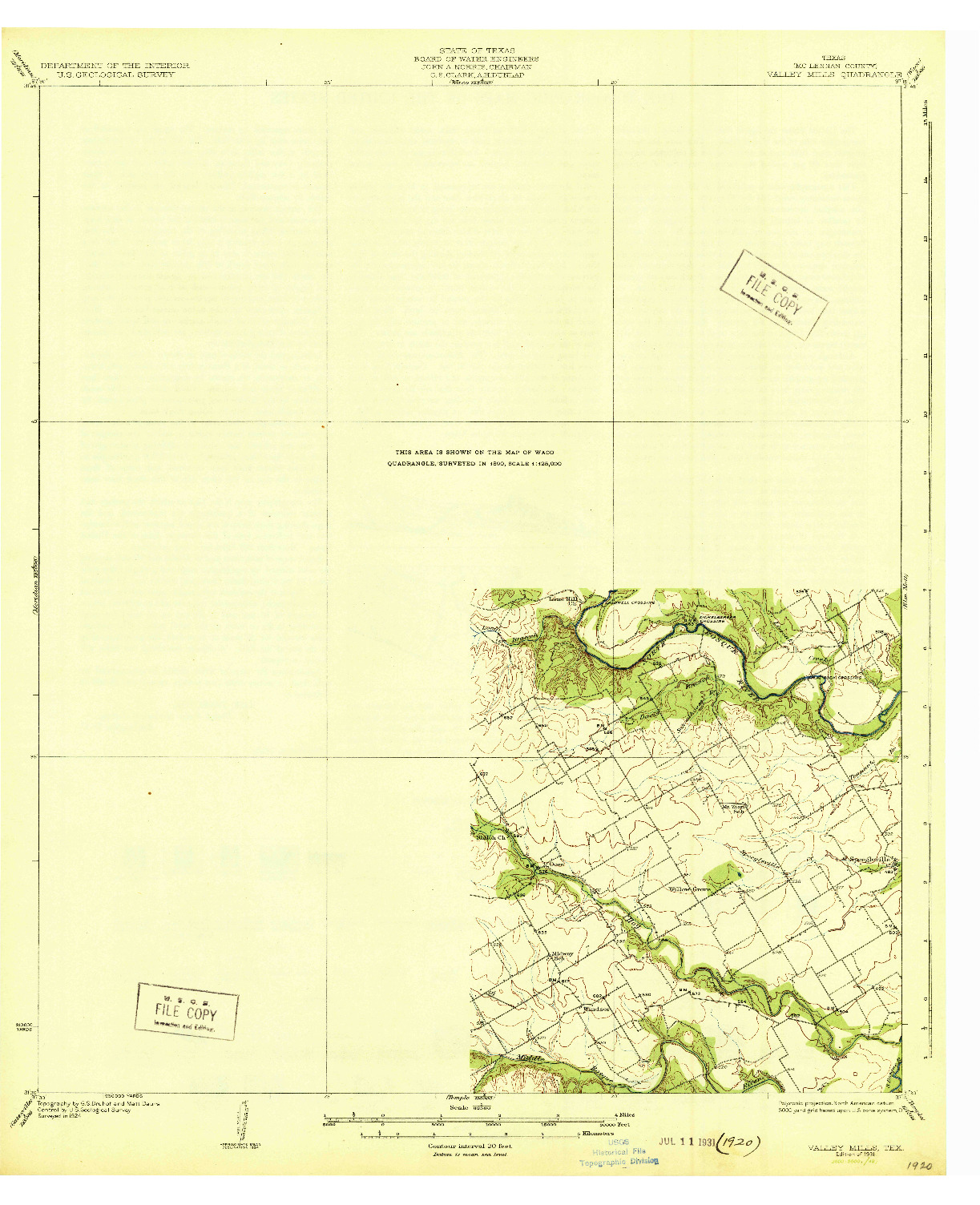 USGS 1:62500-SCALE QUADRANGLE FOR VALLEY MILLS, TX 1931