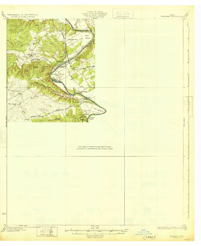 USGS 1:62500-SCALE QUADRANGLE FOR WHITNEY, TX 1931
