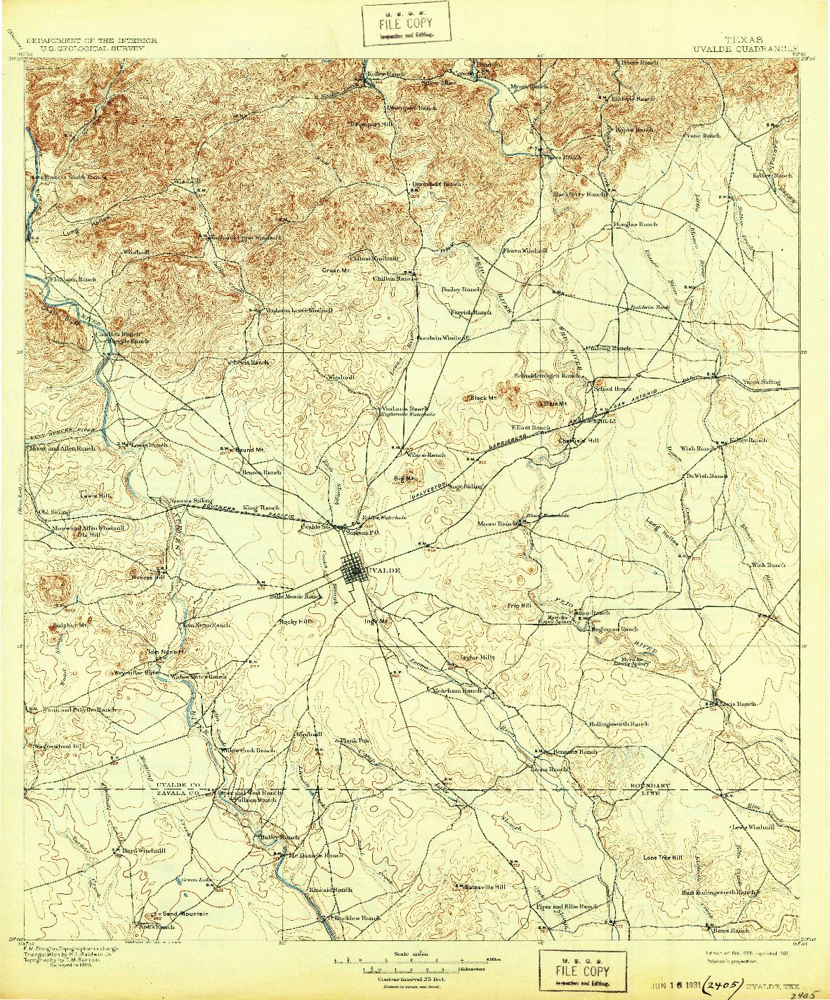 USGS 1:125000-SCALE QUADRANGLE FOR UVALDE, TX 1899