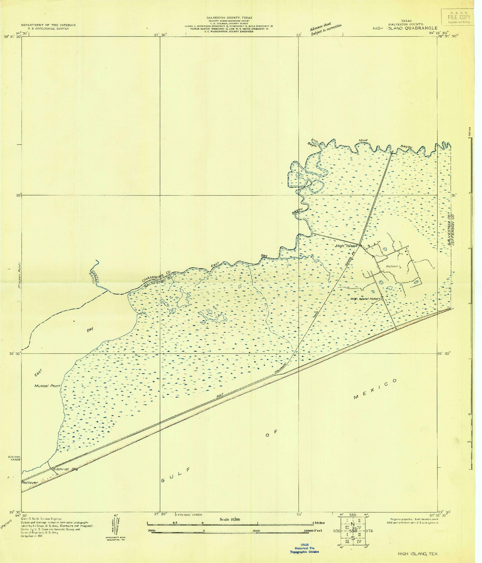 USGS 1:24000-SCALE QUADRANGLE FOR HIGH ISLAND, TX 1931