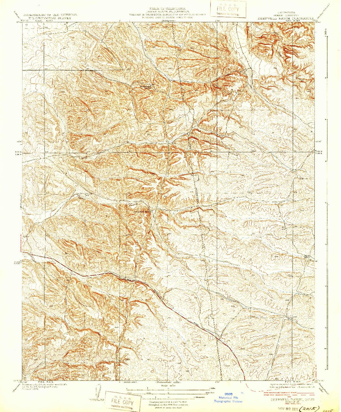 USGS 1:31680-SCALE QUADRANGLE FOR DEEPWELL RANCH, CA 1931