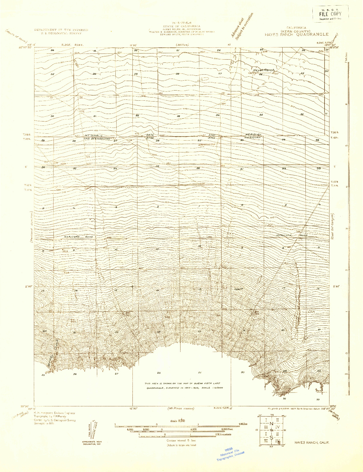 USGS 1:31680-SCALE QUADRANGLE FOR HAYES RANCH, CA 1931