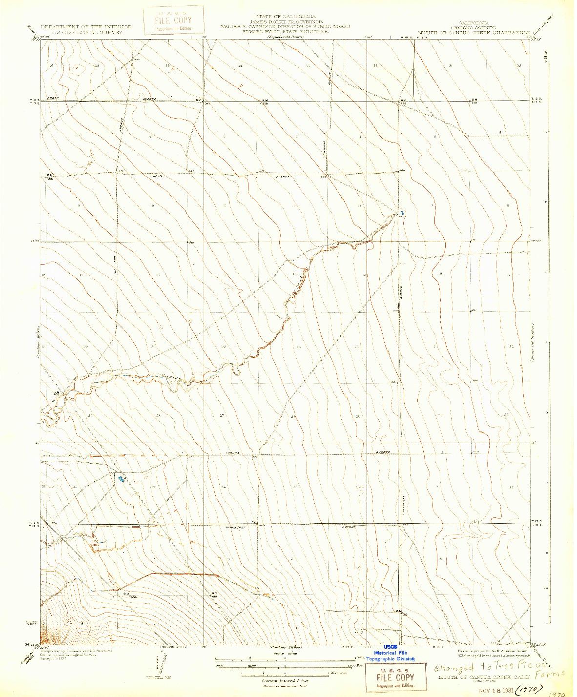 USGS 1:31680-SCALE QUADRANGLE FOR MOUTH OF CANTUA CREEK, CA 1931