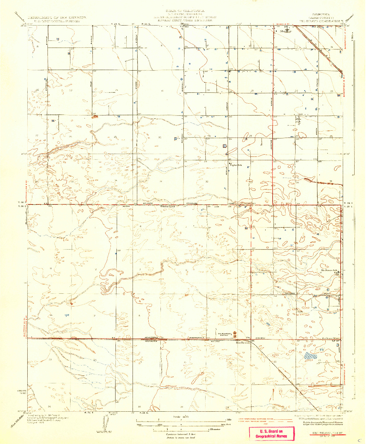 USGS 1:31680-SCALE QUADRANGLE FOR RIO BRAVO, CA 1931