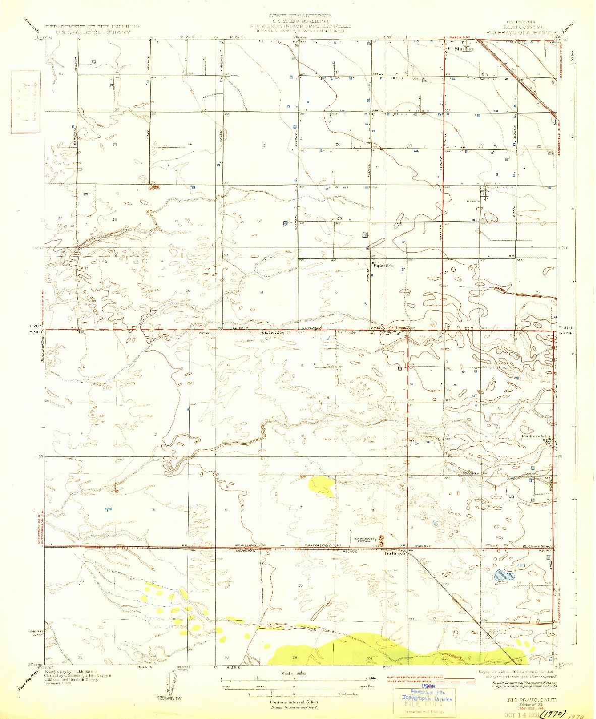 USGS 1:31680-SCALE QUADRANGLE FOR RIO BRAVO, CA 1931