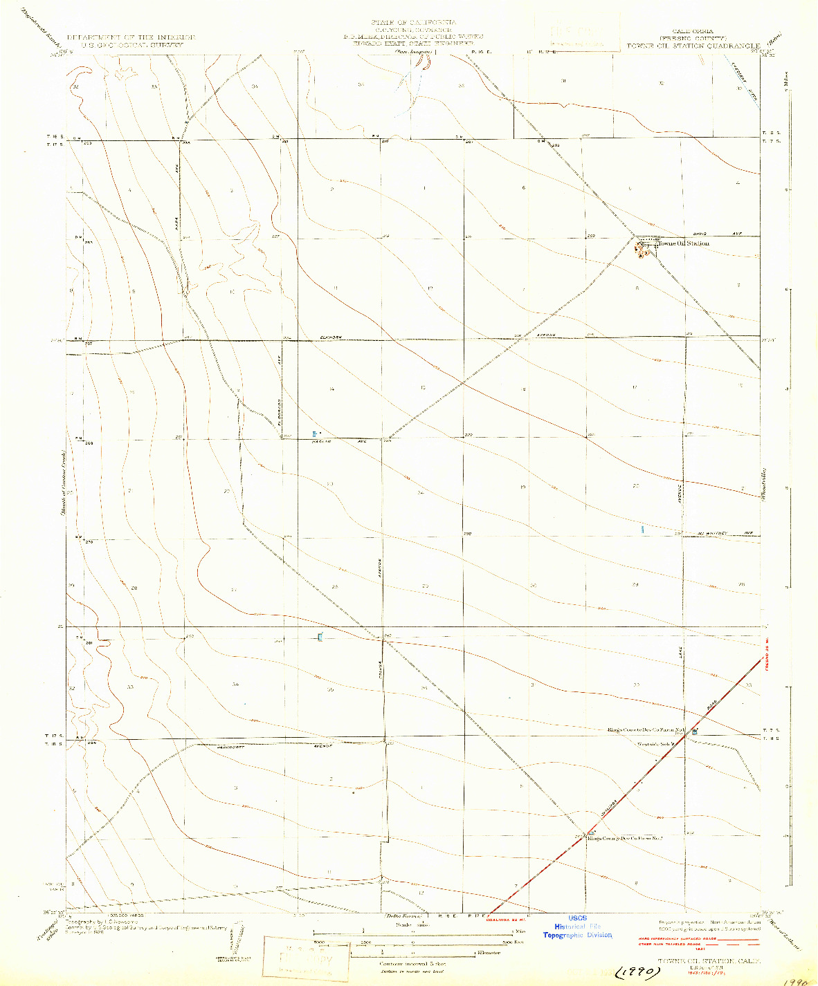 USGS 1:31680-SCALE QUADRANGLE FOR TOWNE OIL STATION, CA 1931