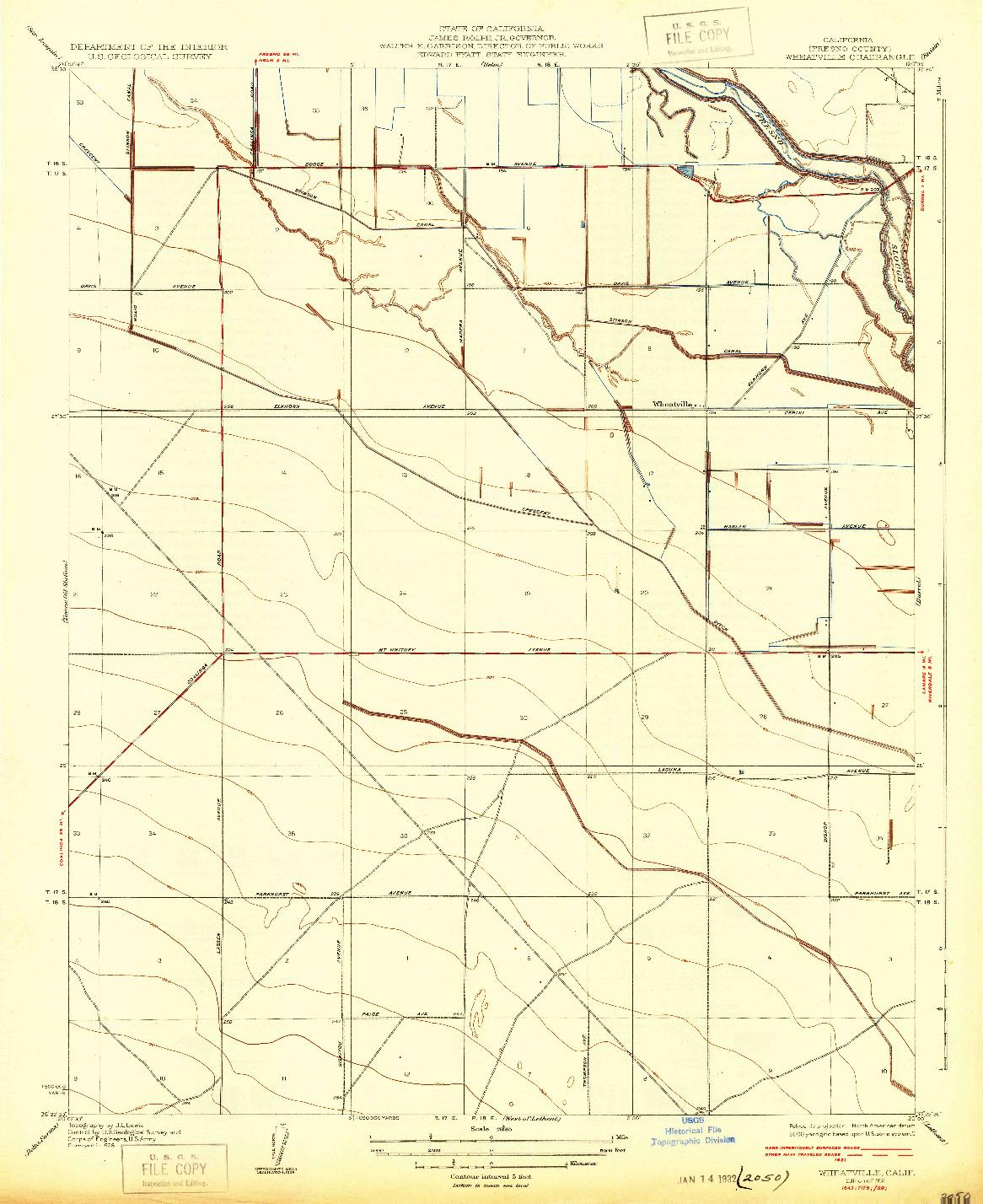 USGS 1:31680-SCALE QUADRANGLE FOR WHEATVILLE, CA 1931