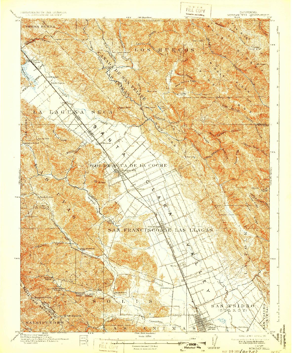 USGS 1:62500-SCALE QUADRANGLE FOR MORGAN HILL, CA 1917