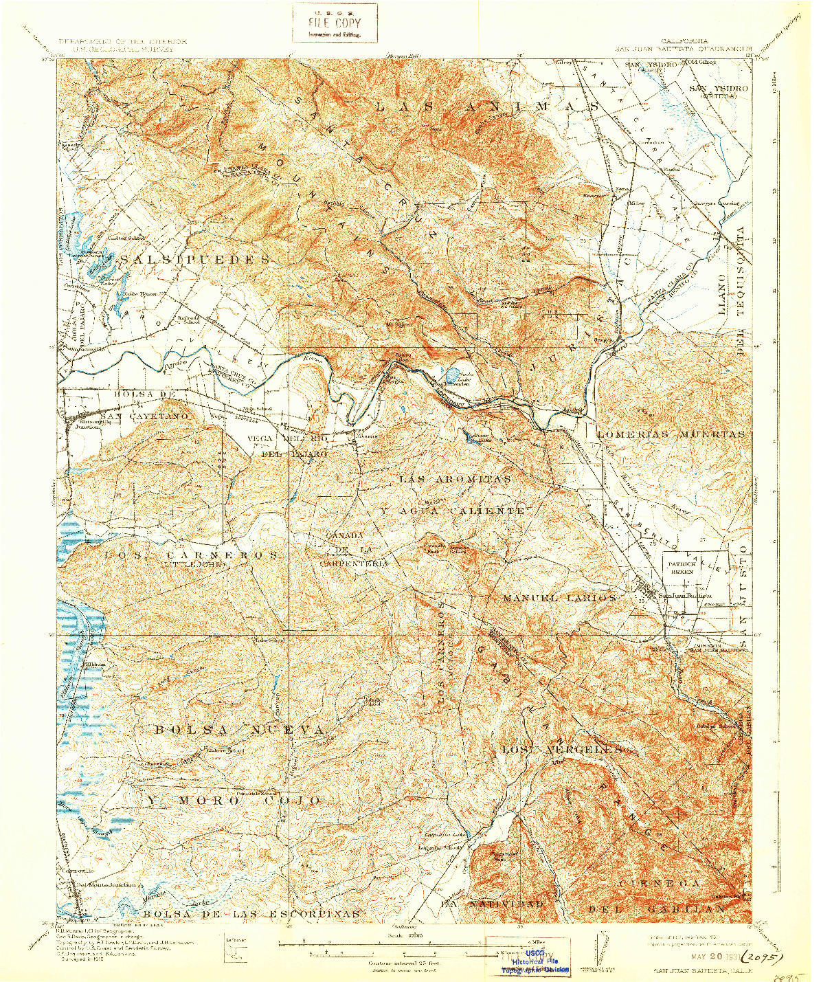 USGS 1:62500-SCALE QUADRANGLE FOR SAN JUAN BAUTISTA, CA 1917