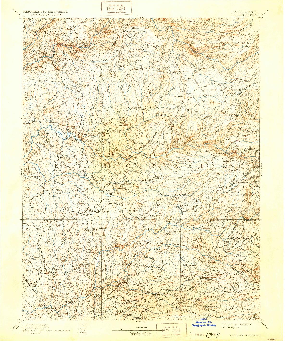 USGS 1:125000-SCALE QUADRANGLE FOR PLACERVILLE, CA 1893