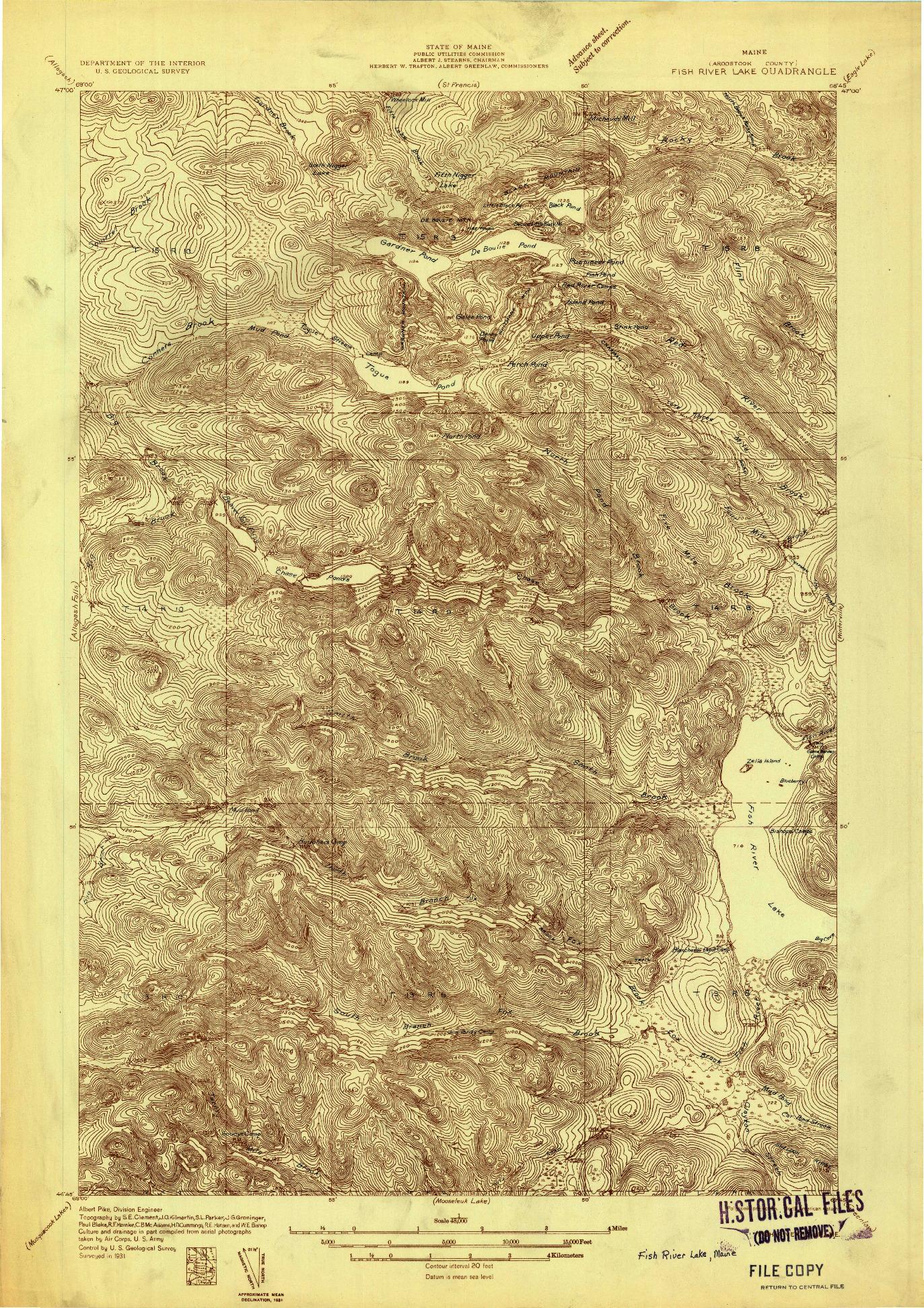 USGS 1:48000-SCALE QUADRANGLE FOR FISH RIVER LAKE, ME 1931