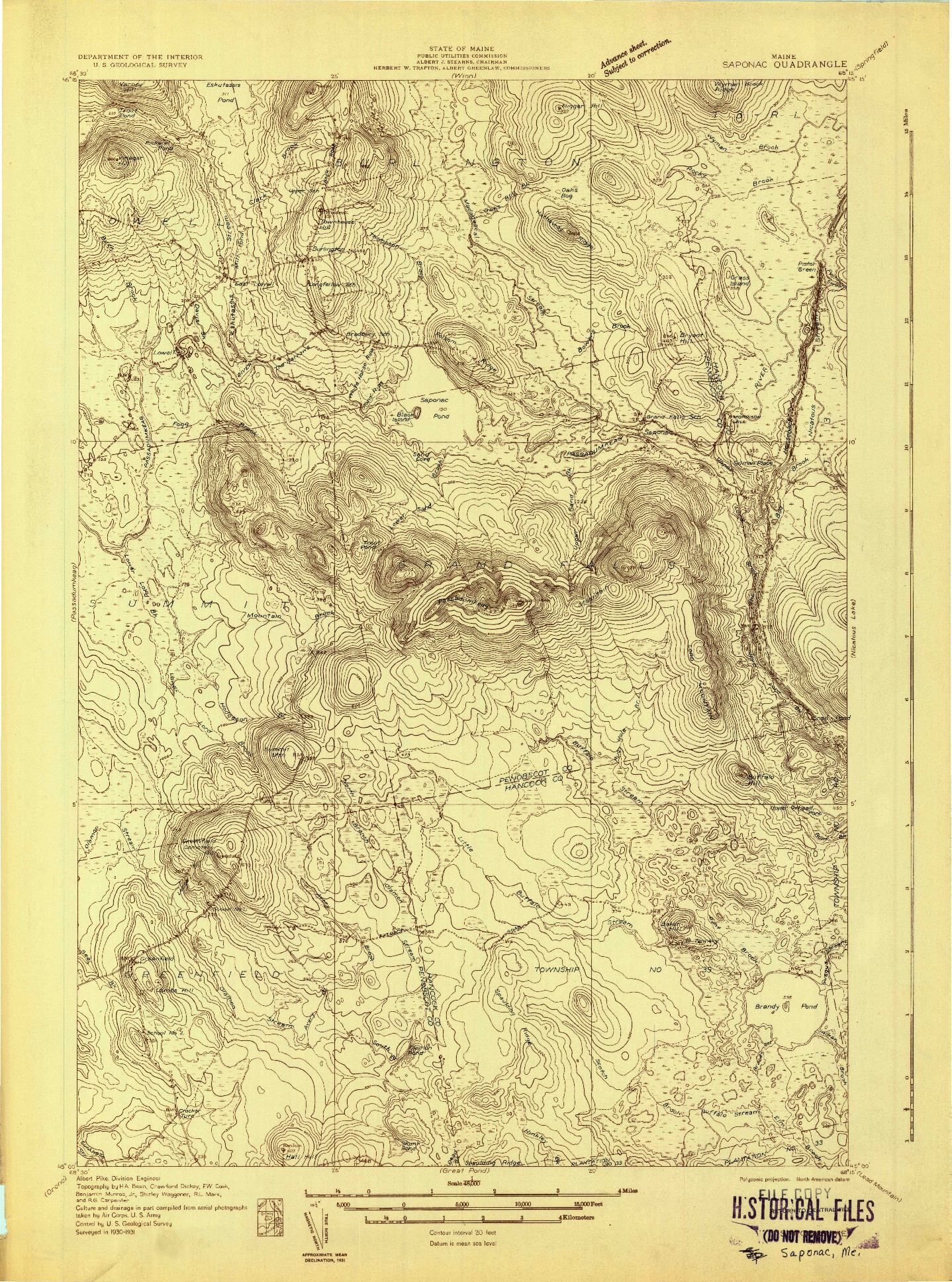 USGS 1:48000-SCALE QUADRANGLE FOR SAPONAC, ME 1931