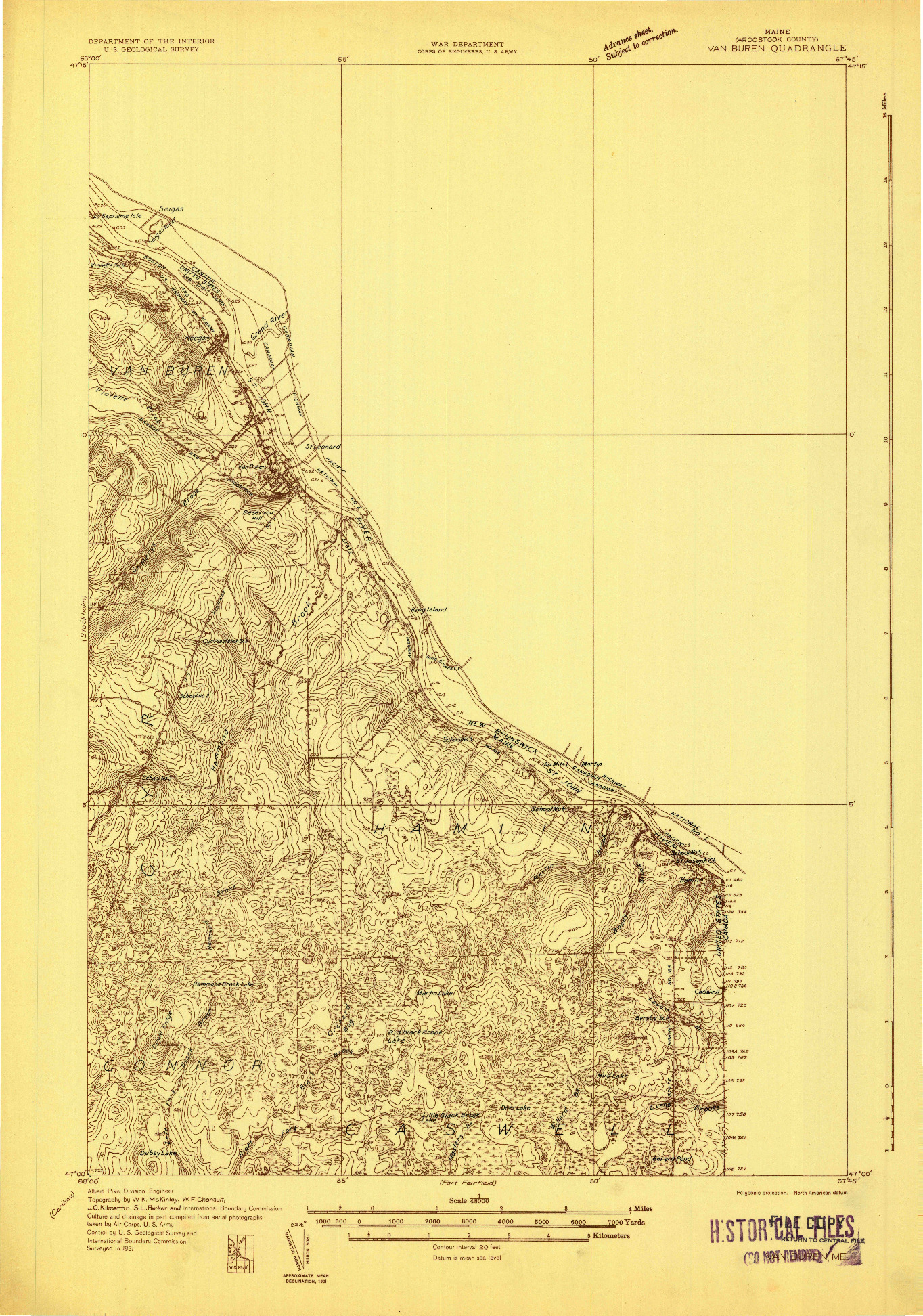 USGS 1:48000-SCALE QUADRANGLE FOR VAN BUREN, ME 1931