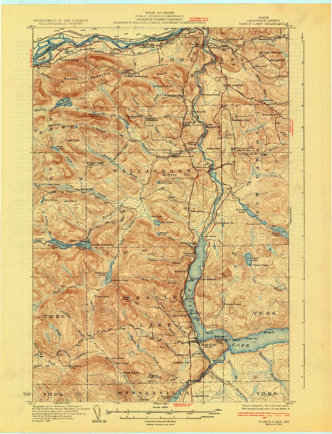 USGS 1:62500-SCALE QUADRANGLE FOR EAGLE LAKE, ME 1931
