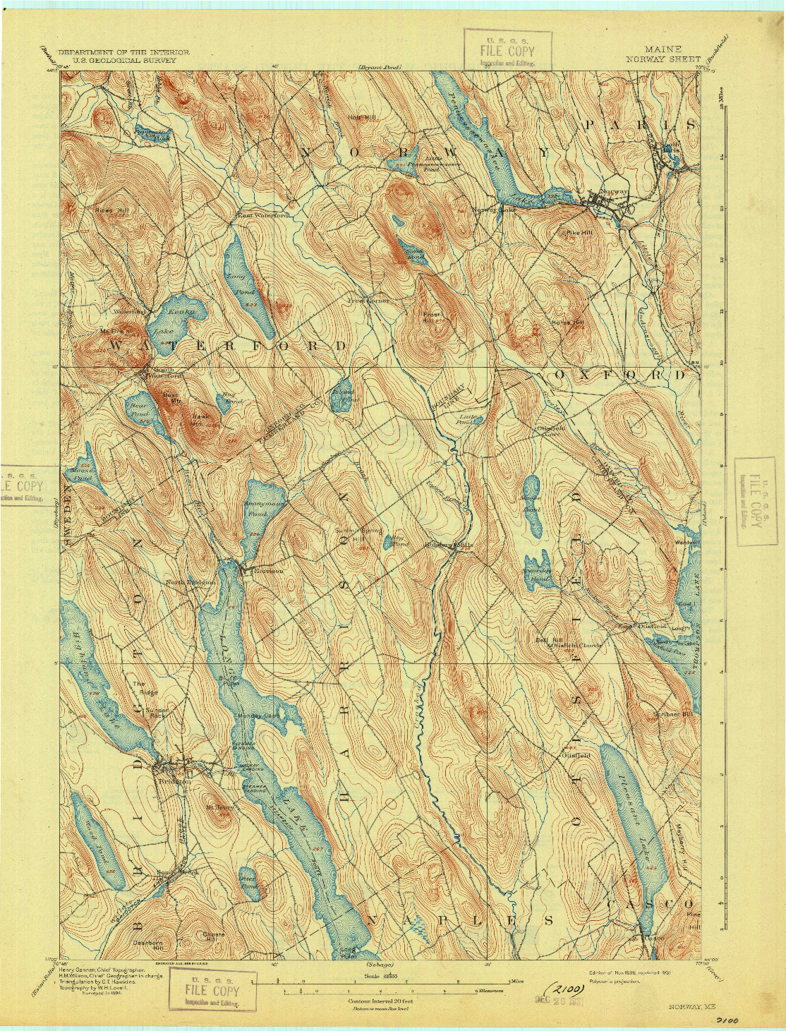 USGS 1:62500-SCALE QUADRANGLE FOR NORWAY, ME 1896