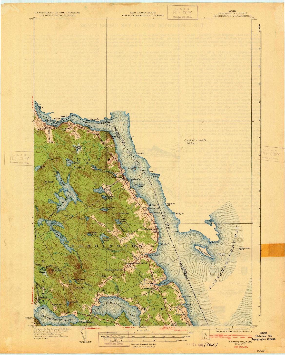 USGS 1:62500-SCALE QUADRANGLE FOR ROBBINSTON, ME 1931