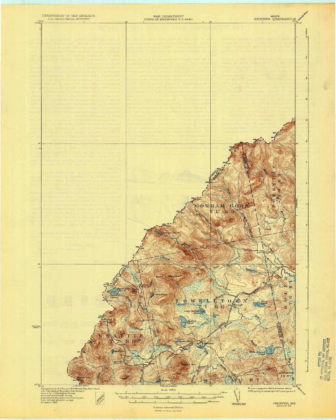 USGS 1:62500-SCALE QUADRANGLE FOR SKINNER, ME 1931