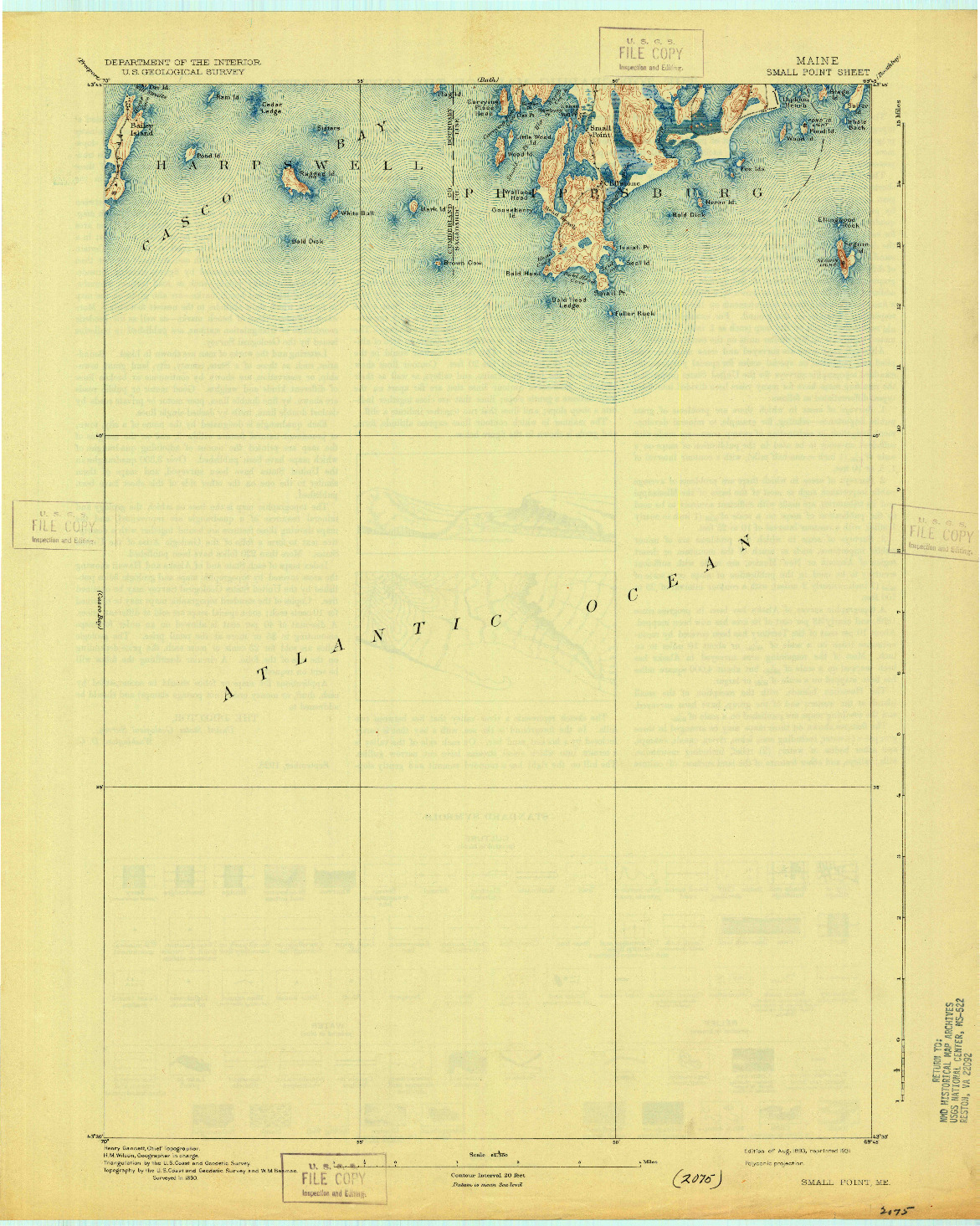 USGS 1:62500-SCALE QUADRANGLE FOR SMALL POINT, ME 1893