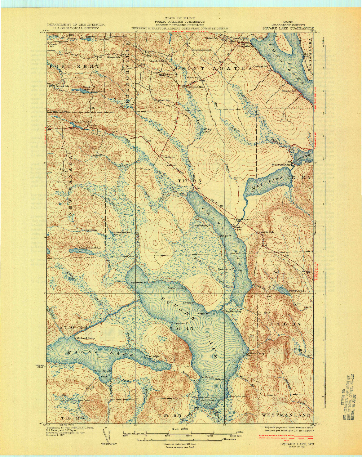 USGS 1:62500-SCALE QUADRANGLE FOR SQUARE LAKE, ME 1931