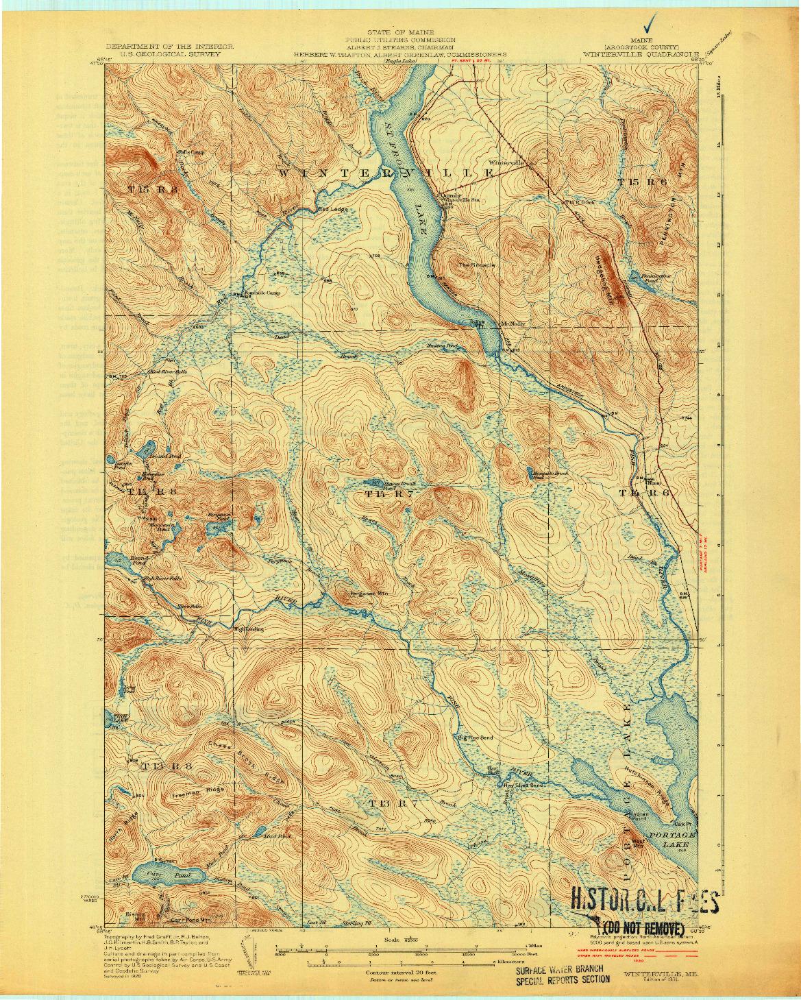 USGS 1:62500-SCALE QUADRANGLE FOR WINTERVILLE, ME 1931
