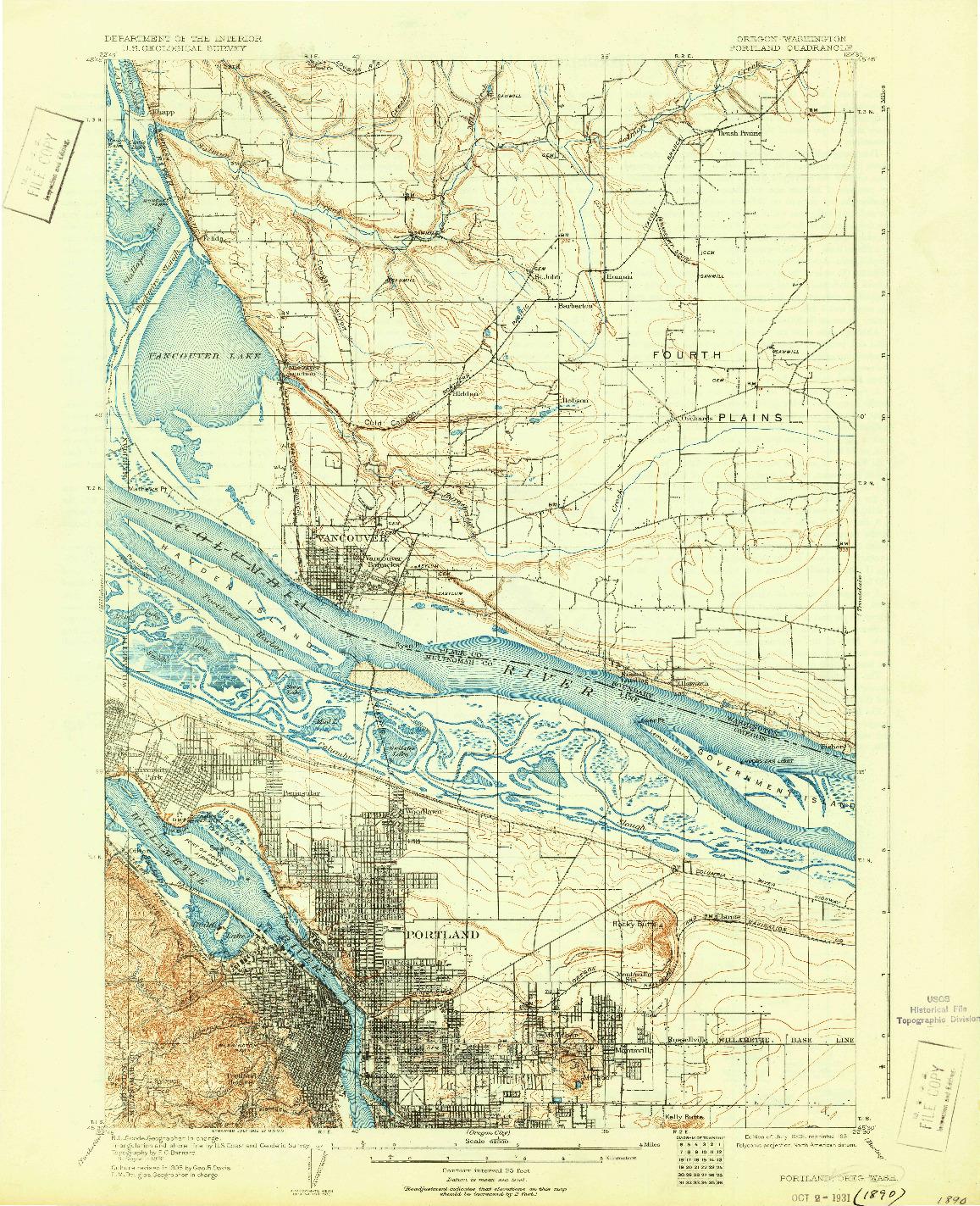 USGS 1:62500-SCALE QUADRANGLE FOR PORTLAND, OR 1905
