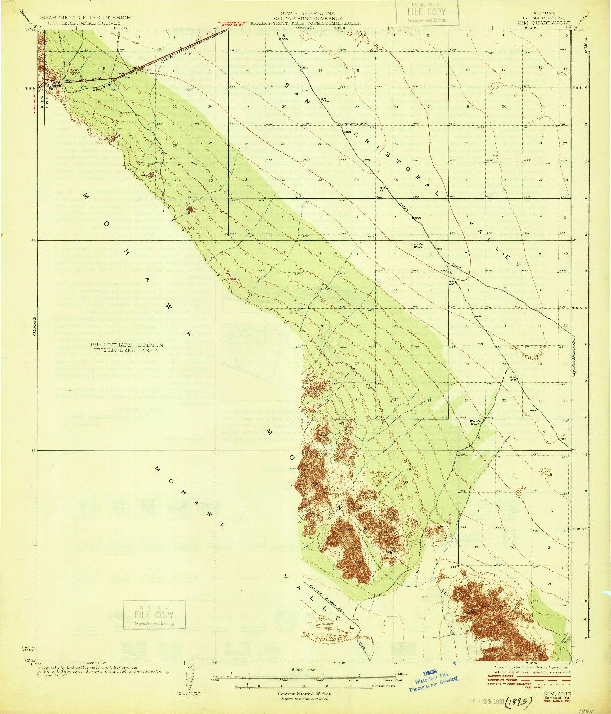 USGS 1:62500-SCALE QUADRANGLE FOR KIM, AZ 1931